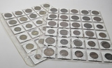 60 World Coins in vinyl pgs, 1888 & up:  UK, France, Iceland
