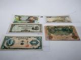 5 World Currency: Colombia, Japan, Saudi Arabia, Korea, 1908 Germany 50 Mark
