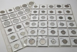 60 World Coins in vinyl pgs, some silver, 1899 & up: France, UK, Netherlands