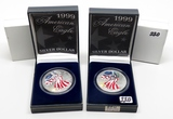 2-1999 Colorized American Silver Eagles boxed