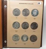 Dansco Eisenhower $ Album including PF & Silver PF, 32 Coins, 1971-1978S, most BU & PF. Nice set