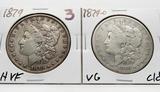 2 Morgan $: 1879 CH VF, 1879-O VG clea