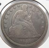 Seated Liberty $ 1841 no motto VG, rev scratch