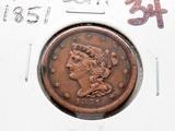 Braided Hair Half Cent 1851 VF cleaned
