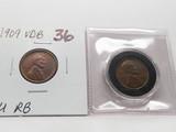 2 Lincoln Wheat Cents: 1909 VDB BU RB, 1934D Unc