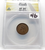 Indian Cent 1877 ANACS VF20 cleaned, Key Date