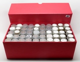 Box of 50 Tubes Lincoln Cents, assorted dates. Unsearched by us, appear to be all Wheat. Estimated t