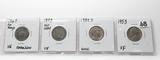 4 Type Nickels: Shield 1867 no rays VG corr, V 1883 no cent VF, Buffalo 1938D Unc, Jefferson 1953 VF