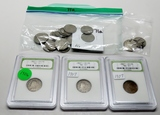 Liberty Nickel Mix: 21 assorted dates mostly lower grades 1897-1912 + Pair Pierced N Nickel Earrings