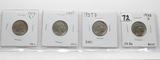 4 Buffalo Nickels: 1913 Ty1 Unc, 1937 Unc, 1937D Unc, 1938D CH BU