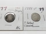 2 Seated Liberty Dimes: 1841 drapery AG, 1889 F cleaned