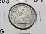 1875S Twenty Cent Piece VG gouge scratches