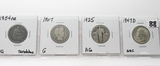 4 Silver Type Quarters: Seated Liberty 1854 AR VG scrs, Barber 1907 G, Standing Liberty 1925 AG, Was
