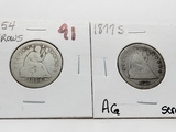 2 Type Seated Liberty Quarters: 1854 Arrows AG, 1877S AG scratches