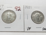 2 Type Standing Liberty Quarters: 1917 Variety 1 VF, 1918S VF scratches