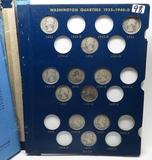 Whitman Silver Washington Quarter Album (spine broken), 1932-1964D, 62 Coins, no Keys, avg circ