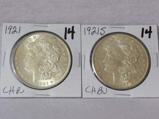2 Morgan $: 1921 CH BU, 1921S CH BU  (money x2)