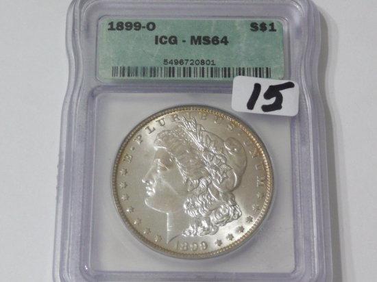 Morgan $ 1899-O ICG MS64, light rim toning