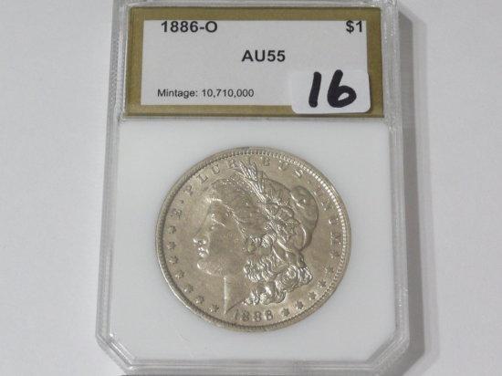 Morgan $ 1886-O PCI AU55, gold label