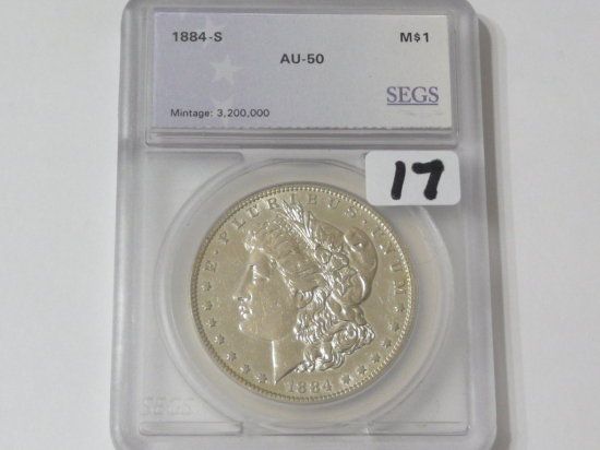 Morgan $ 1884S SEGS AU50