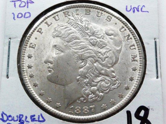 Morgan $ 1887 VAM 5 (Doubled Dt 87) Top 100, Unc
