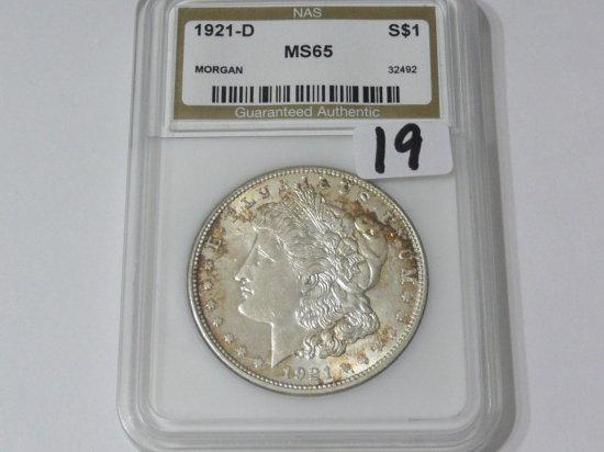 Morgan $ 1921D NAS MS65, toned