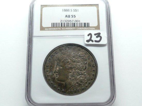 Morgan $ 1888S NGC AU55, rotated rev, toned