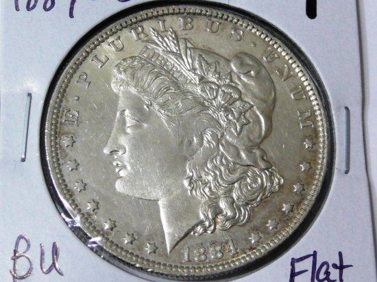 Morgan $ 1884-O BU DMPL, flat strike