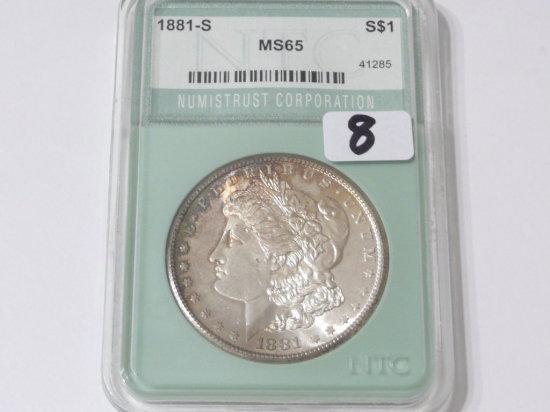 Morgan $ 1881S NTC MS65, toning