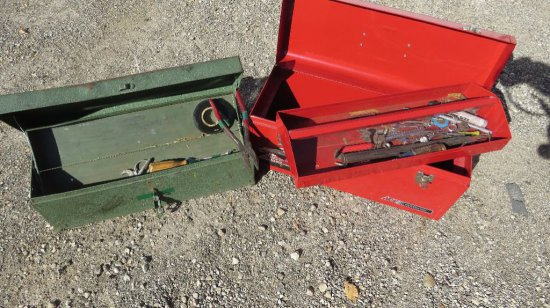 (2) Tool boxes with tools. Red tool box good condition.  Green tool box nee