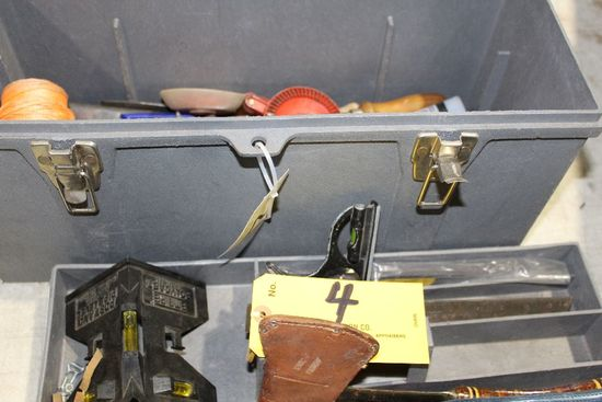 Tuff-Box tool box with hatchets, squares, string line, hand drill, etc.