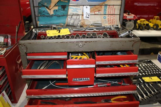 Craftsman tool chest with sockets and bars, micrometer, wire tools, magnet,