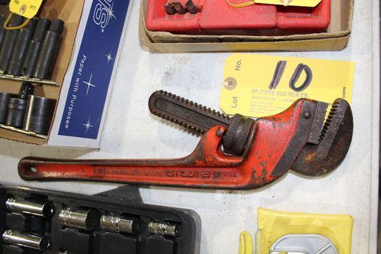 "Ridgid pipe wrench, 18""."