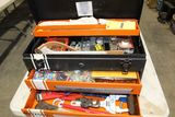 J.C Penney tool box  with pipe strap, wrenches, orings, etc.