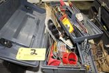 Rough House tool box with hole saws, drill bits, saw blades, etc.