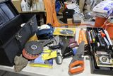 Tuff-Box tool box with pry bars, stud finder, jester saws, kneepads, etc.