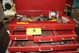 Montgomery Ward tool box with pipe wrenches, short finder, battery tools, o