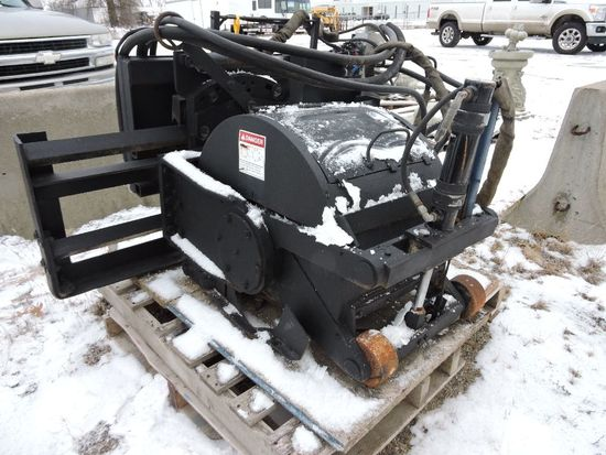 Bradco concrete cold planer, shaver, skid steer mount, 3- function.