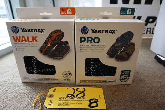 (2) Yaktrax shoe grips, (Walk); (1) Yaktrax shoe grips (Pro).