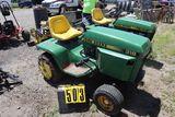 John Deere 318 mower, sn M00318X318101, wheel weights, chains, no deck.