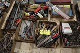Pallet drill bits, files, wrenches, tool boxes, misc.