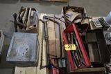 Pallet vintage tools, barrel pump, milk box.