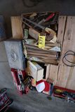 Pallet hammer handles, handsaws, coil pack, misc.