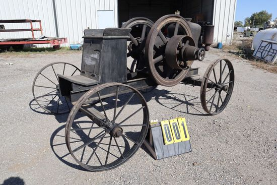Sandwich gas engine, 6 hp, N0. H29213, mounted on steel wheel horse drawn c