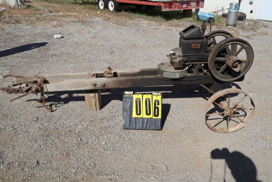 Witte gas engine 1 1/2hp saw mill No. B6384, on two wheel pull carriage.(in