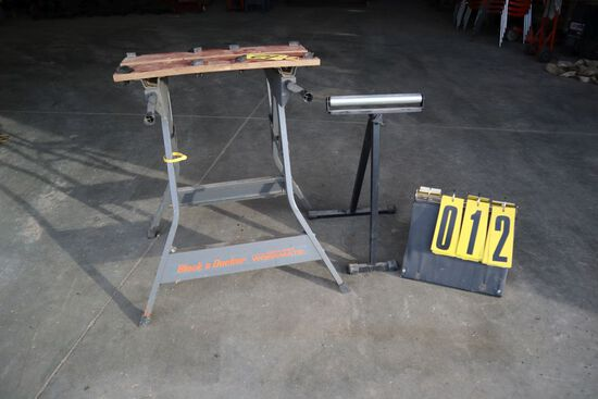 Black Decker workmate w/roller stand.