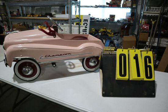 Champion pink pedal car, gear box.