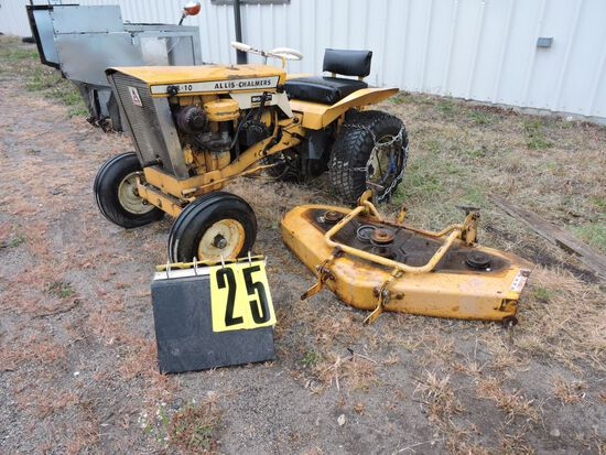 "Allis-Chalmers B-10, sn 036190, w/42"" mowerdeck, chains, Condition Unknown."