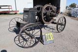 Sandwich gas engine, 6 hp, N0. H29213, mounted on steel wheel horse drawn c