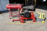 Scale  gas engine on steel wheel truck w/generator, fuel tank.